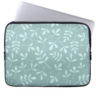 Assorted Light on Mid Teal Leaves Pattern Laptop Sleeve