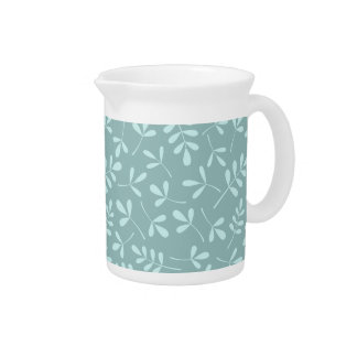 Assorted Light on Mid Teal Leaves Pattern Drink Pitcher
