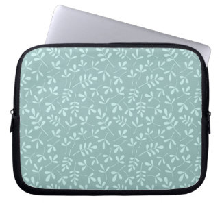 Assorted Light on Mid Teal Leaves Repeat Pattern Laptop Sleeve