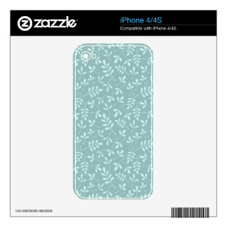 Assorted Light on Mid Teal Leaves Repeat Pattern Skins For The iPhone 4
