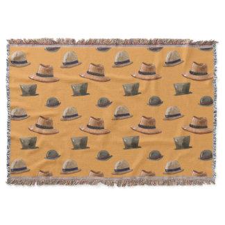 Assorted Men's Vintage Hats Throw Blanket