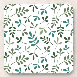 Assorted Mixed Green Leaves Pattern Beverage Coaster