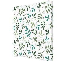 Assorted Mixed Green Leaves Pattern Canvas Print