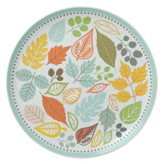 Assorted Pastel Tones Fall Leafs Pattern 3 Plate