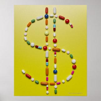 Assorted pills creating dollar symbol poster
