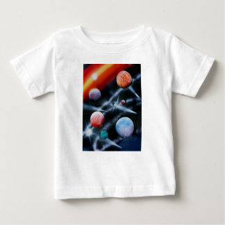 Assorted planets and star stripe space scene baby T-Shirt