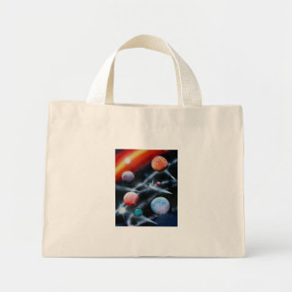 Assorted planets and star stripe space scene bag