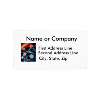 Assorted planets and star stripe space scene label