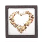 Assorted seashells form heart shape gift box