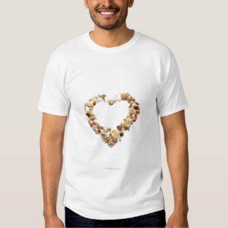 Assorted seashells form heart shape tee shirt