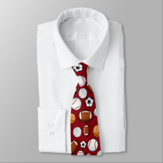 Assorted Sports All STAR Dark Red Colored Neck Tie