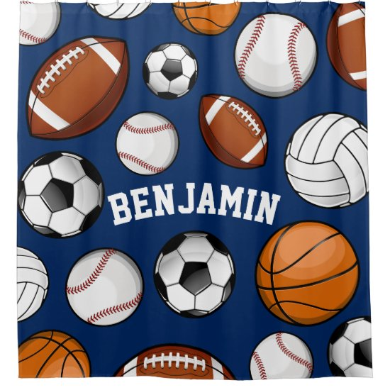 Assorted Sports Personalized Name Navy Blue Shower Curtain