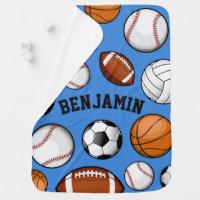 Assorted Sports Player Custom Name Baby Blue Stroller Blanket