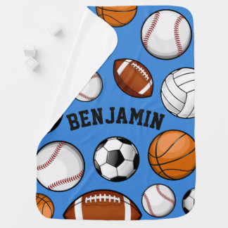 Assorted Sports Player Custom Name Baby Blue Stroller Blanket