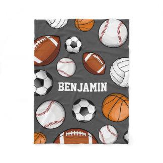 Assorted Sports Player Custom Name Grey Fleece Blanket