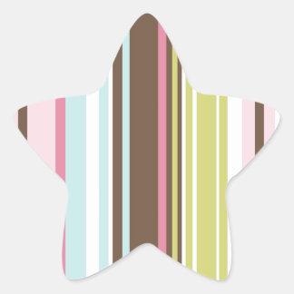 Assorted Stripes Pink, Green Star Sticker