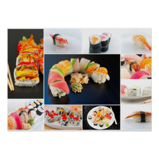 Assorted Sushi Collage Poster