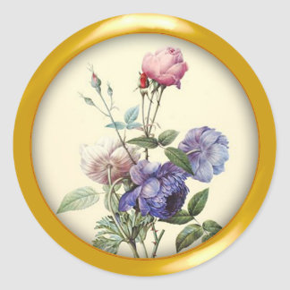 Assorted Vintage Flowers and Metallic Gold Frame Classic Round Sticker
