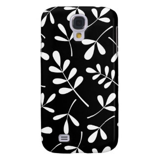 Assorted White Leaves on Black Design Samsung Galaxy S4 Cover