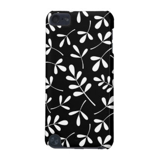 Assorted White Leaves on Black Pattern iPod Touch (5th Generation) Case