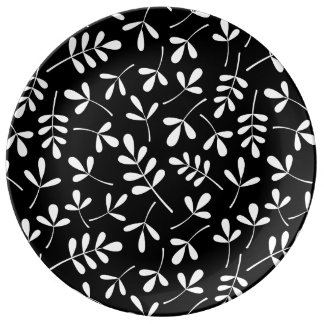 Assorted White Leaves on Black Pattern Plate