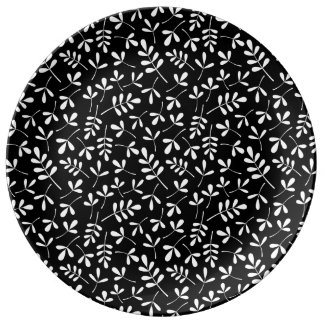 Assorted White Leaves on Black Repeat Pattern Plate