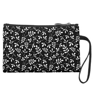 Assorted White Leaves on Black Repeat Pattern Suede Wristlet