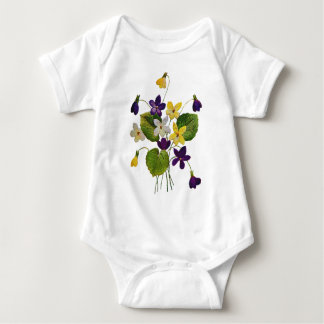 Assorted Wild Violets Done in Crewel Embroidery Baby Bodysuit