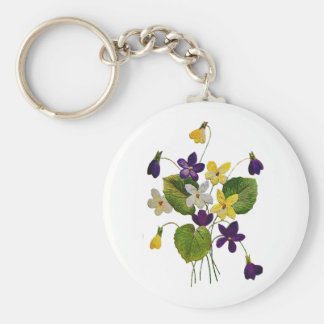 Assorted Wild Violets Done in Crewel Embroidery Basic Round Button Keychain