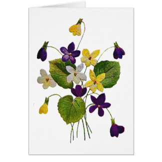 Assorted Wild Violets Done in Crewel Embroidery Card