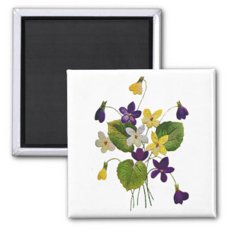 Assorted Wild Violets Done in Crewel Embroidery Magnet