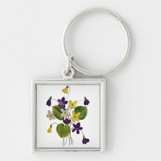 Assorted Wild Violets Done in Crewel Embroidery Silver-Colored Square Keychain