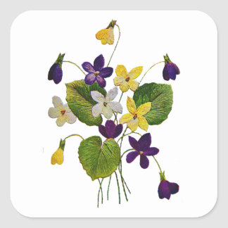 Assorted Wild Violets Done in Crewel Embroidery Square Sticker
