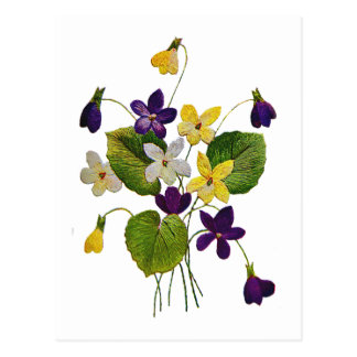 Assorted Wild Violets Done in Crewel Embroidery Post Cards