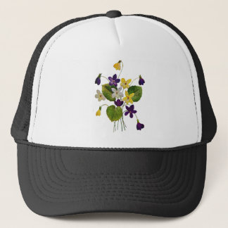 Assorted Wild Violets Done in Crewel Embroidery Trucker Hat