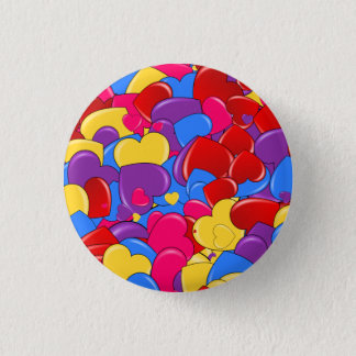 Assortment Candy Coated Valentine Chocolate Hearts Pinback Button