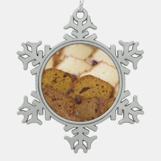 Assortment of Breakfast Breads and Cakes Snowflake Pewter Christmas Ornament