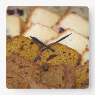 Assortment of Breakfast Breads and Cakes Square Wall Clock