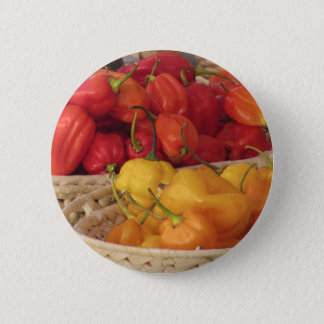 Assortment of colorful chilli peppers pinback button