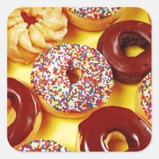 Assortment of delicious donuts square sticker