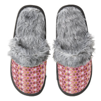 Assortment of Donuts Seamless Pattern Pair Of Fuzzy Slippers