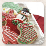 assortment of festive holiday cookies coasters