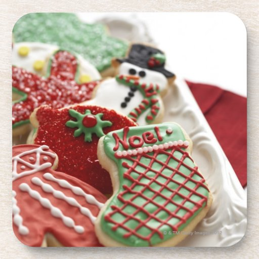 assortment of festive holiday cookies drink coasters