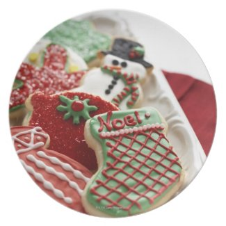 assortment of festive holiday cookies plate