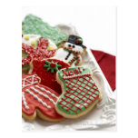 assortment of festive holiday cookies postcard