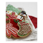 assortment of festive holiday cookies posters