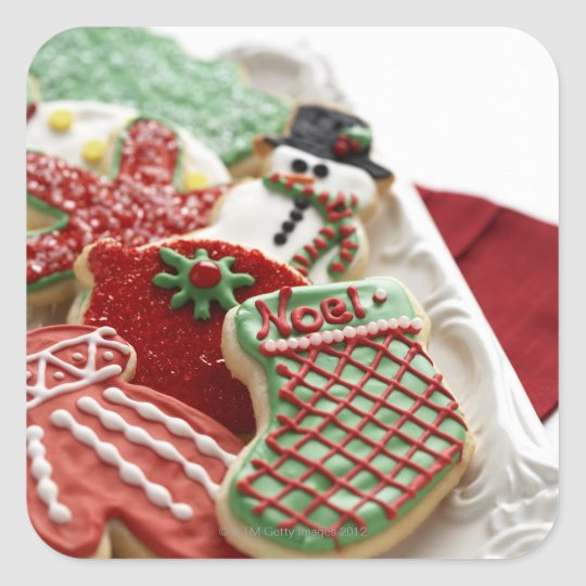 assortment of festive holiday cookies square sticker