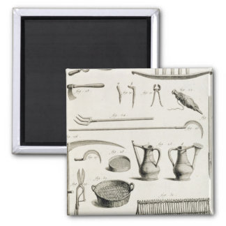 Assortment of gardening tools, from the 'Encyclope 2 Inch Square Magnet
