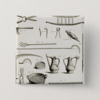 Assortment of gardening tools, from the 'Encyclope Pinback Button