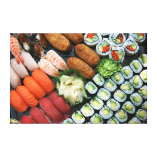 Assortment of Japanese sushi favorites Canvas Print